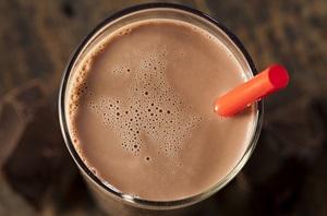 chocolate milk with straw